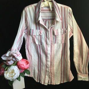 Olive+Oak Striped Cotton Button Front Blouse- Sz M